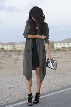 @Cara Brook  rocks her date night outfit. The sheer, flowy trench-cardigan is pure awesomeness (especially for this time of year), but the Nordstrom price tag is a bit ouch...