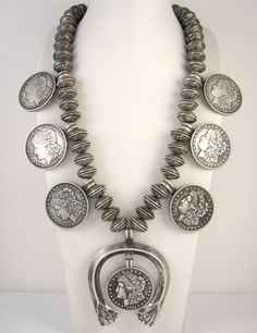 Old Pawn Navajo Mercury Dime Morgan Dollar Coin Silver Squash Blossom Necklace J