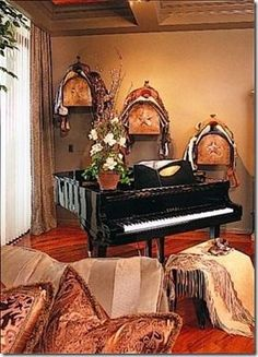 Trophy saddle wall display. Perfect for western decorating.   Stylish Western Home Decorating