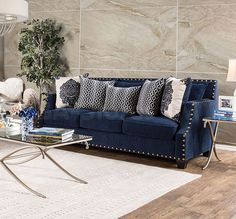Navy blue upholstery gives this Furniture of America Casper Plush Sofa its distinguished look. This plush sofa features generously cushioned seat and back pillows plus sloped arms for casual elegance. Blue Living Room Sets, Living Room Sofa, Living Room Furniture, Home Furniture, Living Room Decor, Dining Room, Office Furniture, Navy Blue Couches, Navy Sofa