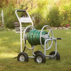 Strongway Hose Reel Cart - welded handle with swivel grip for easy hose winding and unwinding.