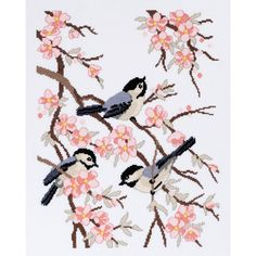 Janlynn Chickadees And Apple Blossoms Counted Cross Stitch Kit