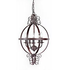 Annie 5-light Orb Iron Chandelier