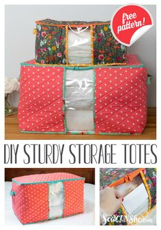 Sewing projects free - DIY Sturdy Storage Totes free sewing pattern in 2 sizes! Bag Patterns To Sew, Sewing Patterns Free, Free Sewing, Free Pattern, Sewing Pattern Storage, Clothes Patterns, Sewing Hacks, Sewing Tutorials, Sewing Crafts