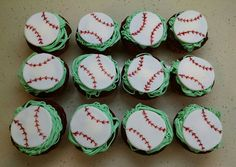 Baseball cupcakes to match Toby and Tim's Angels baseball cake. Red velvet cake with a cream cheese filling.