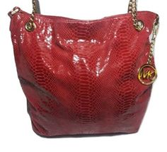 Michael Kors Red Leather Chain Python Embossed Tote Shoulder Bag | eBay Leather Work Bag, Leather Chain, Red Leather, Small Shoulder Bag, Leather Shoulder Bag, Tan Handbags, Small Tote Bags, Blue Bags, Michael Kors Hamilton