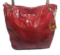 Michael Kors Red Leather Chain Python Embossed Tote Shoulder Bag | eBay
