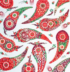 This was a paisley-inspired design for a super berry smoothie, featuring raspberries, strawberries, pink grapes, oranges, currents, goji berries, cashews and almonds. 'I arranged the fruits into a paisley design and put some glassware in, which I've never done before. I just thought it was really beautiful glassware' Amber said. 'It made for a pink, sweet and creamy smoothie.'