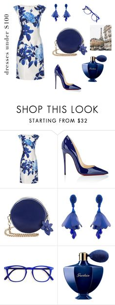 """""""Bouquet of Blue"""" by scolab ❤ liked on Polyvore featuring Dorothy Perkins, Christian Louboutin, Oscar de la Renta and Guerlain"""