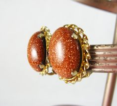 Vintage Sparkling Brown Goldstone Cabochon Clip-On Earrings - Vintage Jewelry with Gift Box by FembyDesign, $15.50