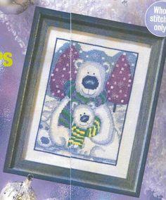 Вышивка крестом / Cross stitch : Белые медведи: схема вышивки крестом
