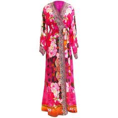 Kyle Richards in Trending Kimono Wrap Dress | Shahida Parides -... (31,520 INR) ❤ liked on Polyvore featuring designer wrap dress and wrap dress