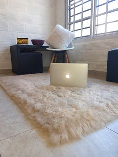 alfombra pile sintética pelo largo beige lavables en lava rropas