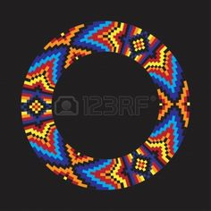 Circle ornament. Round frame, rosette. Native american (indian) round pattern, vector. Stock Vector