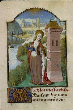 Heures à l'usage de Paris Langue latin/français Nomenclature Liturgie/Dévotion Datation vers 1470Origine géographique France (Paris) –  Sainte Barbe