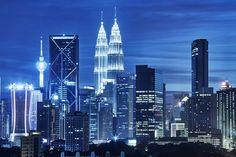 Petronas Towers in Kuala Lumpur at night @shutterstock