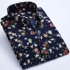 Brand Print Men Shirt Long-sleeve Shirt Slim Fit Casual Shirts Fashion Men's Clothing Casual Camisa