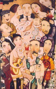 "Imerlishvili, Otar  The Jubilee    2005  Oil Gold on Canvas  50x80cm  (20""x31 1/2"")"
