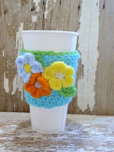 Turquoise with Flower Bouquet Coffee Sleeve