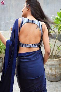 Buy Blue Satin Dupion Silk Taping Saree - Sarees Online in India Blouse Back Neck Designs, Sari Blouse Designs, Fancy Blouse Designs, Designer Blouse Patterns, Blouse Styles, Designer Dresses, Plain Saree, Stylish Blouse Design, Blouses For Women
