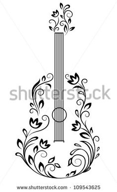 Guitar with floral details for entertainment design. Jpeg version also available in gallery