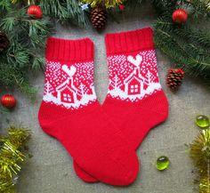 91ff290f0ce2f Купить Вязаные шерстяные носки новогодние Дом, милый дом - новогодние носки,  Носки шерстяные