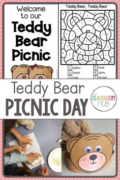 Are you looking for ideas for a teddy bear's picnic theme day that your preschool, kindergarten or first grade students will love? Check out these activities. Included are a writing and drawing printable, a teddy bear hat craft template with instructions for how to make it, directed drawing, coloring by number and more. Bringing a teddy to school for the day is a fun way of learning with classroom friends. Teddy Bear Day, Brown Teddy Bear, Teddy Bears, 3 Bears, Classroom Crafts, Preschool Crafts, Classroom Ideas, Kindergarten Activities, Art Activities