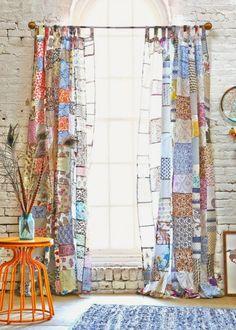 ✽ boho patchwork curtains - i bocconcini di beach eau Patchwork Curtains, Boho Curtains, Window Curtains, Unique Curtains, Sewing Curtains, Patterned Curtains, Beige Curtains, Layered Curtains, French Curtains