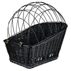 Trixie Black Wicker Rear-Mounted Bicycle Basket with cushion Dogs Cats 13117 Dog Bike Basket, Bike Baskets, Dog Crate Mats, Dog Trailer, Biking With Dog, Bicycle Accessories, Pet Accessories, Small Dogs, Pet Supplies