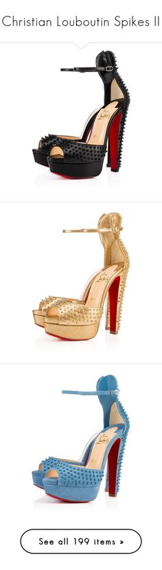 """""""Christian Louboutin Spikes II"""" by sakuragirl ❤ liked on Polyvore featuring shoes, christian louboutin, louboutin, heels, sandals, spike shoes, light gold shoes, mini shoes, christian louboutin sandals and velour shoes"""