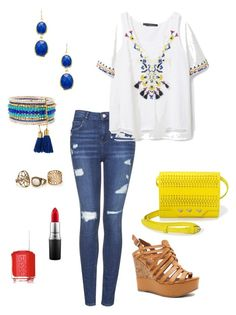 """""""Untitled #289"""" by kmysoccer on Polyvore featuring Topshop, MANGO, Panacea, Kenneth Jay Lane, Stella & Dot, Qupid, MAC Cosmetics and Essie"""