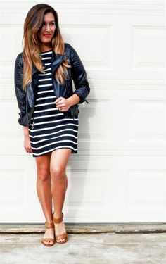 Stripes and leather = our favorite combo! #ootd