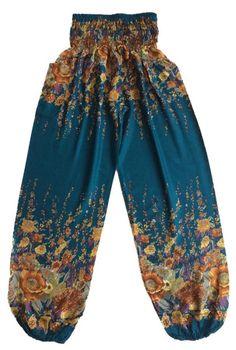 Green Flower Harem Pants