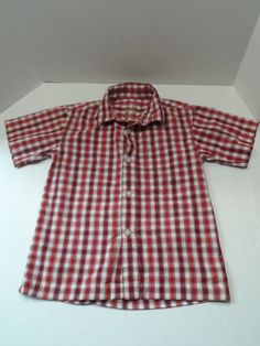 $9.49/ Boys red plaid button down short sleeve Shirt by faded Glory, 100% Cotton,  Size XS 4/5  ~kids youth toddler children's clothing  *Find over 20 categories of quality merchandise in my store. SHIPPING is always FREE within the USA; I do ship globally ~ www.shellyssweetfinds.com