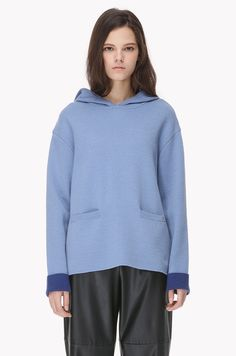 Wool blend hooded knit pullover