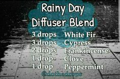 Rainy day diffuser blend: white fir, cypress,  frankincense,  clove,  peppermint essential oils