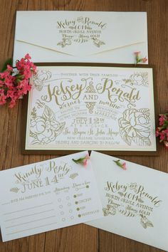 SUITE FEATURES:  Invitation & Blank Envelope **Blush backing layer **Pale Green backing layer **Wood Grain textured backing layer  RSVP & Blank