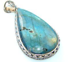 $68.95 Fabulous Quality Of Labradorite Sterling Silver Pendant at www.SilverRushStyle.com #pendant #handmade #jewelry #silver #labradorite