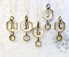 Your place to buy and sell all things handmade Monogram Necklace, Personalized Necklace, Constellation Necklace, Zodiac Jewelry, Vintage Monogram, Geometric Necklace, Bridesmaid Jewelry, Southern Marsh, Southern Tide