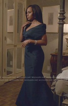 WornOnTV: Olivia's navy off-shoulder gown on Scandal Olivia Pope Outfits, Olivia Pope Style, Veronica, Scandal Fashion, Navy Gown, Off Shoulder Gown, Dressy Outfits, Get Dressed, Kerry Washington