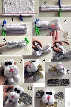 mali artyści: Piesek z ręcznika - zabawka zrób to sam