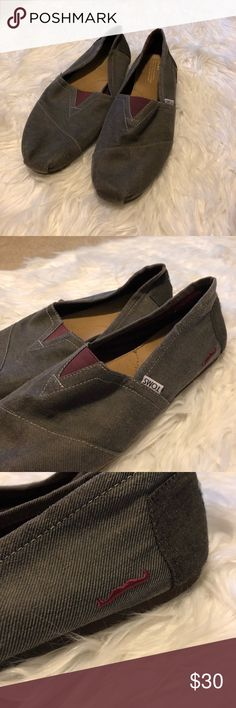 TOMS Mustache style Gray and maroon toms. There is an embroidered mustache on each shoe on the side. Size 13 men's and in gently used condition but still have a lot of life left. Toms Shoes