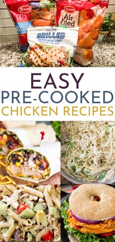 Dinner time made easy is every mom's dream! Try these 12 chicken recipes using frozen pre-cooked chicken so you can de-stress and get dinner done fast! Frozen Chicken Patty Recipe, Chicken Patty Recipes, Frozen Chicken Recipes, Cooked Chicken Recipes, Chicken Recepies, Chicken Meals, Pre Cooked Chicken, How To Cook Chicken, Chicken Breast Strips Recipes