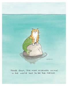 "Funny Mermaid, Mermaid Cat, ""Pity the Mercat"", a Humorous Watercolor Print by Scott Mendenhall by DrawnFromMyBrain on Etsy"