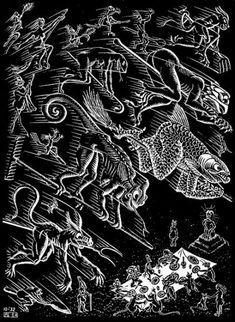 "Skot Foreman Gallery M. Escher ""Scholastica (Last Night)"" 1932 Woodcut 9 x 6 in 23 x 17 cm from the intended edition of 300 Initialed in the plate ""MCE"" lower left corner Bool 201 © The M. Escher Company B. Mc Escher, Escher Kunst, Escher Art, Escher Drawings, Magritte, Escher Paintings, Mathematical Drawing, Graphic Artwork, Dutch Artists"