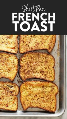 This Sheet Pan French Toast is the answer to your brunch dreams! It's ready … This Sheet Pan French Toast is the answer to your brunch dreams! It's ready to serve in under 30 minutes, and can easily be doubled to serve a crowd. Oven Baked French Toast, French Bread French Toast, Banana French Toast, Cinnamon French Toast, French Toast Bake, Healthy French Toast, Overnight French Toast, French Toast Calories, Ideas Tostadas