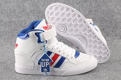 2015 Adidas Original High Tops Wedge Shoes White Red Blue