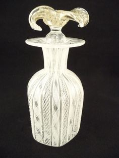 Murano Venetian Art Glass Latticino Perfume Bottle Floral Stopper   eBay