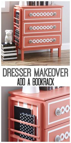 Makeover a dresser with this simple, easy project!  Add a bookrack to the side of a dresser.  http://thistlewoodfarms.com #IKEAHack, #BHGMakeover, #BHGIKEA
