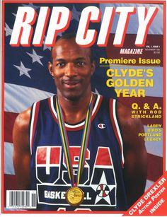 4719a0461 Rip City Basketball Magazine Autographed by Clyde Drexler 1992 Premier  Issue Vol 1 Issue 1 Vintage Sports Memorabilia Portland Trail Blazers